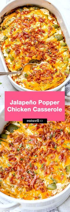 Popper Chicken Casserole Jalapeño popper chicken casserole – So quick and easy. Everyone will love this delicious chicken casserole recipe!Jalapeño popper chicken casserole – So quick and easy. Everyone will love this delicious chicken casserole recipe! Pastas Recipes, Lunch Recipes, Mexican Food Recipes, Keto Recipes, Chicken Recipes, Cooking Recipes, Healthy Recipes, Recipies, Jalapeno Recipes