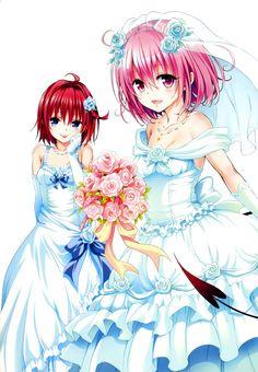 color_issue dress kurosaki_mea momo_velia_deviluke tail to_love_ru to_love_ru_darkness wedding_dress yabuki_kentarou