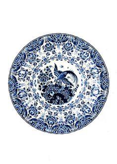 Antique Delft Ceramic Handpainted Platter