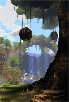 Hanging gardens from massive trees. Minecraft.