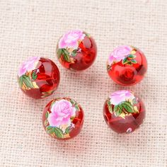 Flower Painted Glass Round Beads from Pandahall.com