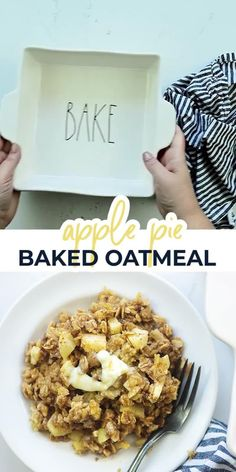 This baked oatmeal is loaded with fresh apples and cinnamon for a warm and cozy way to start a chilly morning. #recipe #oatmeal #apples Egg Recipes For Breakfast, Breakfast Dishes, Best Dessert Recipes, Fun Desserts, Vegan Recipes Easy, Camping Desserts, Trifle Desserts, Breakfast Ideas, Dinner Recipes
