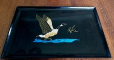 "Vtg Large Couroc Canada Goose Geese Serving Rectangular Tray 18"" x 12.75"" #Couroc"