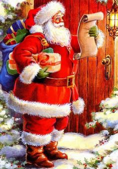 Santa card front checking his list big 560x800