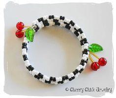 Checkered Cherry Memory Wire Bracelet by CherryChick on Etsy...#CherryChick #CherryBracelet #MemoryWire #CherryJewelry