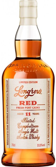 Longrow Red Port Finished 11 Year Old Peated Single Malt Scotch Whisky Good Whiskey, Scotch Whiskey, Springbank Whisky, Hot Sauce Bottles, Bourbon, Whiskey Bottle, Rum, Fun Crafts, Liquor