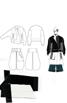 Fashion Sketchbook layout - fashion illustrations & fabrics; fashion portfolio // Andrew Voss