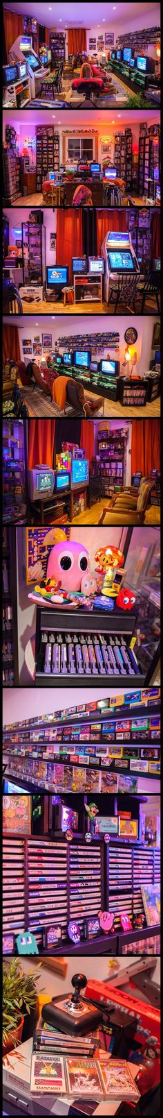 Amazing Retro Game Room Setup via Heidi (stopXwhispering). Tons of systems, gaming units, and gaming decor packed into one room.