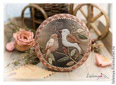 Японский кошелек. Птички - бежевый,в клеточку,кошелек,Квилтинг и пэчворк