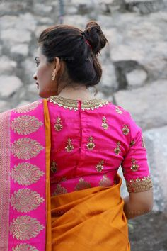 Blouse Back Neck Designs, Silk Saree Blouse Designs, Saree Blouse Patterns, Fancy Blouse Designs, Designer Blouse Patterns, Bridal Blouse Designs, Kurta Designs, Crazy Quilting, Modern Saree