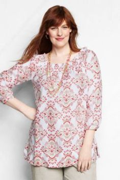 3c56820a1d7af Women s Plus Size 3 4-sleeve Pattern Smocked Linen Tunic from Lands  End