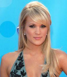 Trendy Wedding Hairstyles With Bangs Half Up Carrie Underwood Side Bangs Hairstyles, Easy Hairstyles For Long Hair, Down Hairstyles, Pretty Hairstyles, Straight Hairstyles, Hair Bangs, Hairstyle Ideas, Blonde Bangs, Ash Blonde