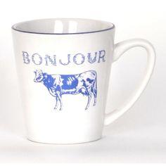 Bonjour Blue Cow Beverage Mug ($3.99) ❤ liked on Polyvore featuring home, kitchen & dining, drinkware, blue ceramic mug, ceramic mug, wizard of oz mug, cow mug and blue drinkware