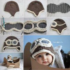 Crochet DIY Aviator Hat hat diy crochet diy crafts do it yourself kids hat Bonnet Crochet, Crochet Diy, Crochet Baby Hats, Crochet Beanie, Crochet For Kids, Crochet Crafts, Crochet Clothes, Baby Knitting, Crochet Projects