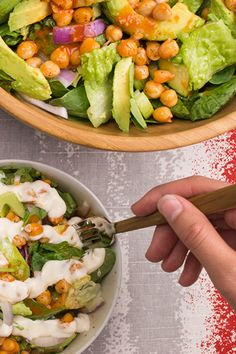 Pro tip — oven roast the chickpeas in the buffalo hot sauce. Get the recipe for Buffalo Chickpea Garden Salad w/ our dairy-free Blue Cheeze Dressing. #plantbased