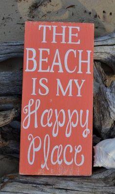 Beach Decor - Beach Sign - 20x10 - Coastal - Nautical - The Beach Is My Happy Place - Wood - Painted - No Vinyl - Coral - Beach House Theme by ajct