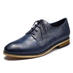 a110f18ee6a2 Mona Flying Women s Leather Flat Oxfords Shoes for Women Perforated Lace-up  Wingtip Vintage Brogues Shoes