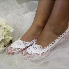 Feel like a Princess wearing our white lace wedding socks. White stretch lace sock hugs your foot, makes any shoe special: flat or heeled. What makes this whit