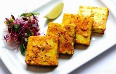 Bharwan paneer - Alfred Prasad Grilled Indian cheese paneer marinated with yoghurt, turmeric, ginger and spices with a mint chutney filling offers a simple but taste-packed meal. This grilled paneer recipe is a wonderful starter dish from Alfred Prasad, and is a great first course before barbecued meats and veggies. Chaat masala is available to buy online.