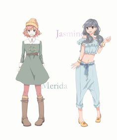 "Modern-day AU versions of Merida from ""Brave"" and Jasmine from ""Aladdin"" - Art by たねみん"
