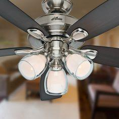 Shop Hunter Meridale 52-in Brushed Nickel Downrod or Flush Mount Ceiling Fan with Light Kit at Lowes.com