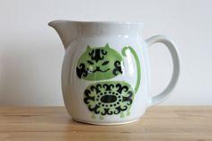 Eames Era Finel Arabia Kaj Frank Pitcher - Designer White Ceramic Jug with Green Mid Century Modern Cat Pattern