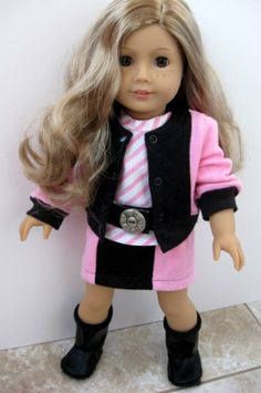 American Girl Doll Clothes:  Pink & Black Bomber Jacket, Skirt, Striped Top, Belt and Boots by ILuvmCreations on Etsy