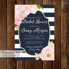 Watercolor Peonies Bridal Shower Invitation, Navy and White Stripes Shower Invitation, Watercolor Pink Roses, Gold Glitter Invitation