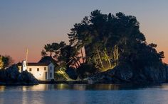 The islet of Panagia, Parga Epirus Greece, Clouds, Island, Mansions, House Styles, Water, Outdoor, Inspiration, Home Decor