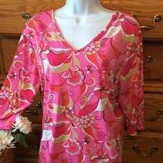"""Venezia Pink Top 92% polyester and 8% spandex.  Excellent condition and approximately 25"""" in length.  Has a v neck in the front as well as the back of the shirt. Venezia Tops Tank Tops"""