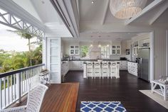 Home Renovations Light and Airy Hamptons-Queenslander Fusion Home Renovation by Baahouse… - A gallery featuring a beautiful Australian home renovation with an open-floor plan and a balcony that overlooks the beautiful backyard pool. Die Hamptons, Hamptons Style Homes, Style At Home, Estilo Hampton, Queenslander House, Home Design, Interior Design, Design Design, Patio Design