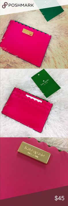 Kate Spade Card Holder NWT MATERIAL shell & trim 100% cow leather jacquard lining: polyester 14-karat gold plated hardware FEATURES 2 exterior card slots interior, open top main compartment. So handy to have to keep those important cards together! kate spade Bags Wallets
