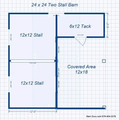 Barn Plans -2 Stall Horse Barn - Design Floor Plan double it for a 4 horse,