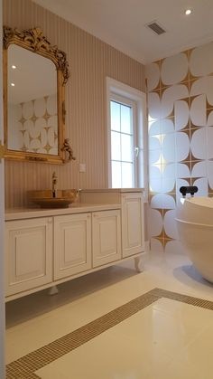 modern gold master bathroom