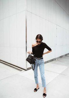 women's spring summer fashion black one shoulder bodysuit shirt+fade denim jean pants
