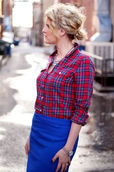 Old navy red with blue plaid shirt styled with a blue skirt. Natural feel color combo