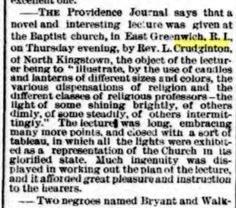 Thomas Crudgington Rev lecture at Baptist Church East Greenwich Rhode Island America report from New York Evening Express 31 Mar 1874