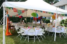 tent lights for bridal shower mexican | The tent with round tables, Mexican Papercut flags and large tissue ...