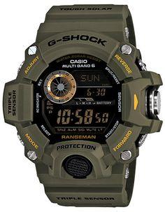 Casio Master of G - G-Shock Mens Rangeman Watch - Triple Sensor - Military Olive