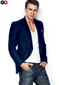 Love the royal blue blazer and the dark denim jean topped with a white V-neck for a clean look.