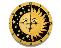 Sun and Moon Large, Silent Wall Clock, Hand painted , Glass wall clock, Glass paiting wedding gift Teal Wall Decor, Yellow Home Decor, Teal Walls, Orange Walls, Office Wall Clock, Traditional Clocks, Green Clocks, Wall Clock Hands, Clock Display