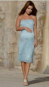 Strapless Lace Dress, Blue - $189.99 blue or white-for when i am pregnant again.