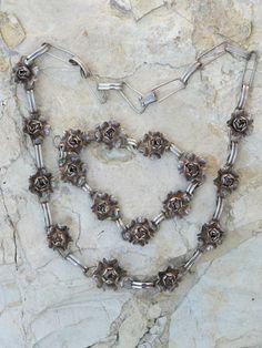 Vintage Mexican Sterling Sterling Silver 3 D Rose Necklace Bracelet Set   eBay