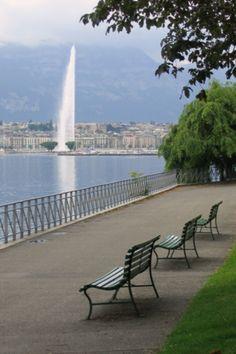 Lake Geneva, Switzerland. I think this is Geneva, but it looks a lot like the promenade at Montreaux.