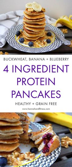 A simple, yet delicious protein pancake recipe that only requires 4 main ingredients. These pancakes are healthy, full of healthy carbs and low in fat. Whip these up for a quick healthy breakfast idea!