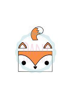 Molde raposa para o apoiador de celular, impressão em A4