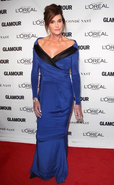 Caitlyn Jenner from 2015 Glamour Women of the Year Awards Red Carpet Arrivals  The I Am Cait star bares her décolletage in an elegant off-the-shoulder gown.