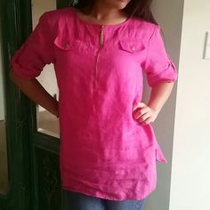 Pink Tassle top Features gold zipper with tassle...Size M   Bundle For a discount! Always fast shipping! Ellen Tracy Tops Blouses