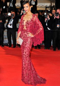 Sonia Rolland in a red lace Zuhair Murad gown #Cannes