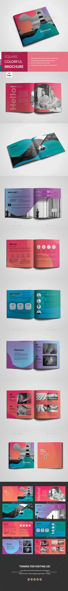 Square Colorful Corporate Brochure — InDesign INDD #corporate #catalogue • Available here ➝ https://graphicriver.net/item/square-colorful-corporate-brochure/20739339?ref=pxcr